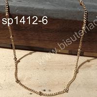 Collar de acero dorado con bola, eslabón de 2x1 mm y sep bola 2 mm, collar con cierre, 45 mm de largo