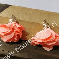 Borla flor naranjo base dorado, 24 mm de largo, por par