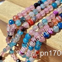 Agata de 4 mm en tonos celestes y rosados, tira de 92 piedras