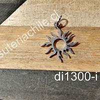 Dije de acero en forma de sol, 18 mm, por unidad