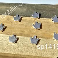 Separador plateado en forma de corona, 7 x 8 mm, agujero de 1,2 mm, set de 8 unidades