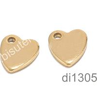 Dije de acero corazón, 10 x 9 mm, set de 2 unidades