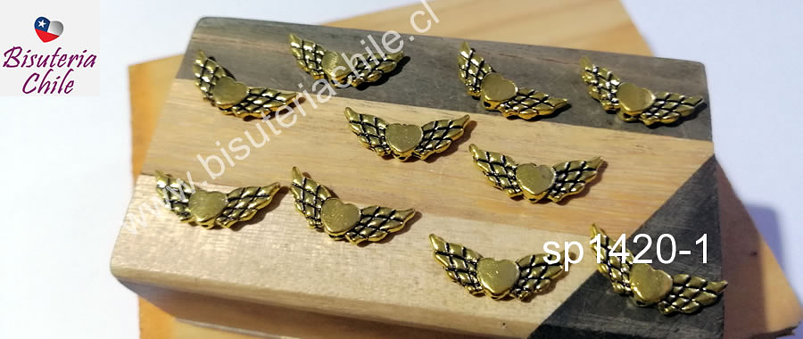 Separador dorado, corazón detente, 22 x 9 mm, set de 10 unidades