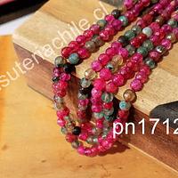 Agata de 4 mm en tonos rosados, fucsias y verdes, tira de 92 piedras aprox