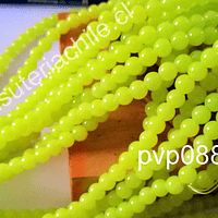 Perla de vidrio amarillo transparente, 8 mm, tira de 100 unidades aproximadas.