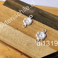 Dije flor doble conexión, baño de plata opaco, 18 x 10 mm, por par