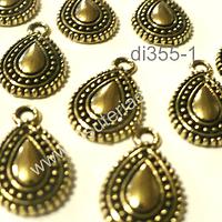 Dije dorado en forma de gota con diseño, 17 mm de largo por 10 mm de ancho, set de 10 unidades