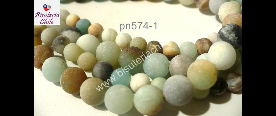 Amazonita frosting, 8 mm, tira de 47 piedras aprox