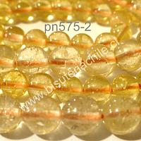 Cuarzo citrino primera calidad, 6 mm, tira de 28 piedras