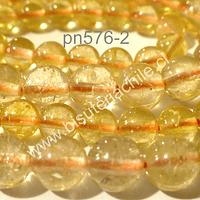 Citrino, primera calidad de 8 mm, tira de 22 piedras