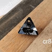 Cristal Austriaco negro en forma de triangulo, 16 x 15 mm, 1o mm de ancho, por unidad