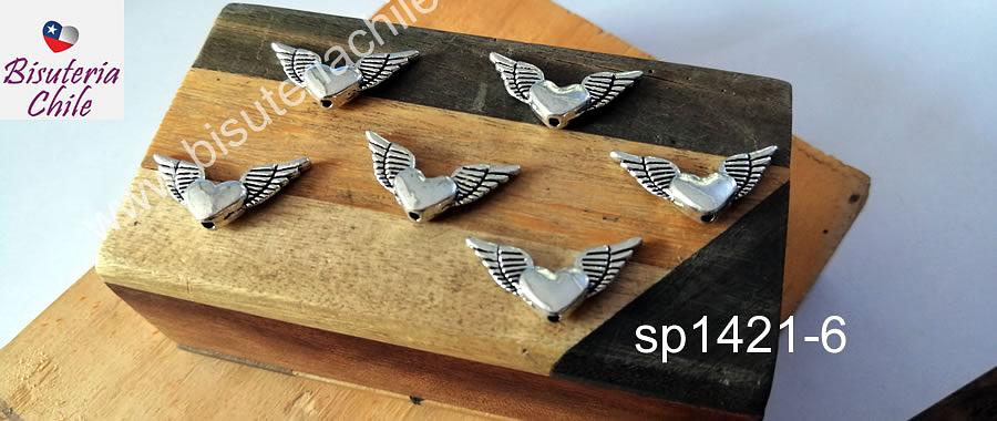 Separador plateado corazón con alas, 25 x 11 mm, set de 6 unidades. San Valentin