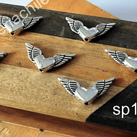 Separador plateado corazón con alas, 25 x 11 mm, set de 6 unidades