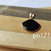 Dije de onix base dorado, 22 x 20 mm, por unidad