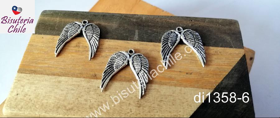 Dije en forma de alas dobles, 22 x 14 mm, set de 3 unidades