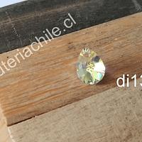 Cristal austriaco en forma de gota transparente tornasol, 10 x 8 mm, por unidad