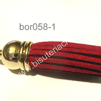 Borla roja base dorado, 40 mm, por unidad