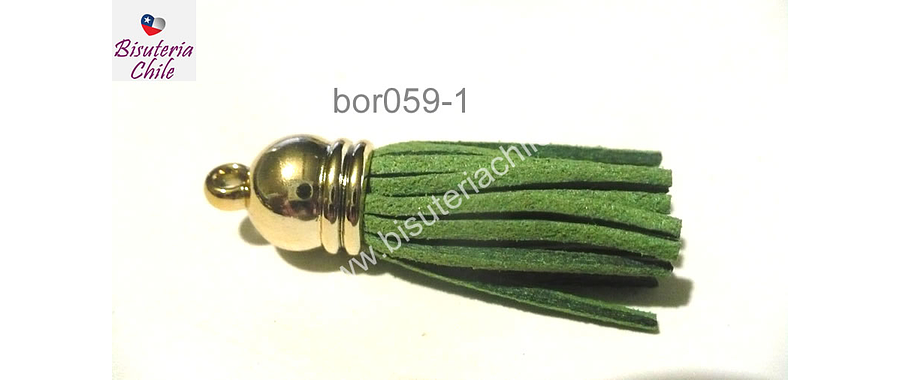 Borla color verde musgo base dorado, 40 mm, por unidad