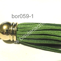 Borla color verde musgo base dorado, 40 mm, por unidad
