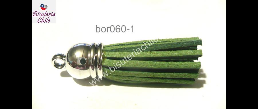 Borla verde musgo base plateado, 40 mm, por unidad