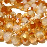 Cristal 8 mm en tono naranjo y blanco tira de 70 cristales aprox