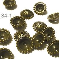 Casquete envejecido, 10 mm de diámetro y 5 mm de ancho, set de 14 unidades