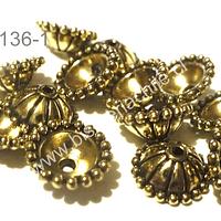 Casquete dorado, 10 mm de diámetro y 5 mm de ancho, set de 14 unidades