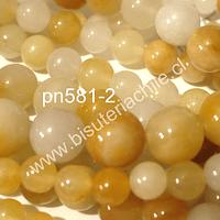 Jade en tonalidades tostados, 10 mm, tira de 38 piedras aprox
