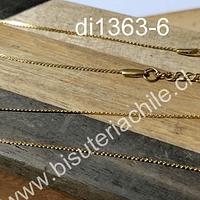 collar de acero dorada, tipo serpiente, 1 mm, 45 cm, con cierre