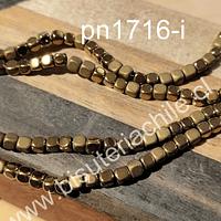 Hematite frosting dorada, 4 x 4 mm, 135 unidades aprox
