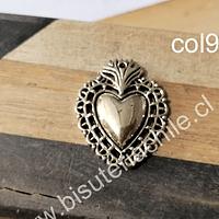 Colgante dorado corazón detente, 29 x 23 mm, por unidad. San Valentin