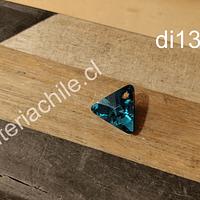 Cristal Austriaco azul en forma de triangulo, 12 x 12 mm, 6 mm de ancho, por unidad