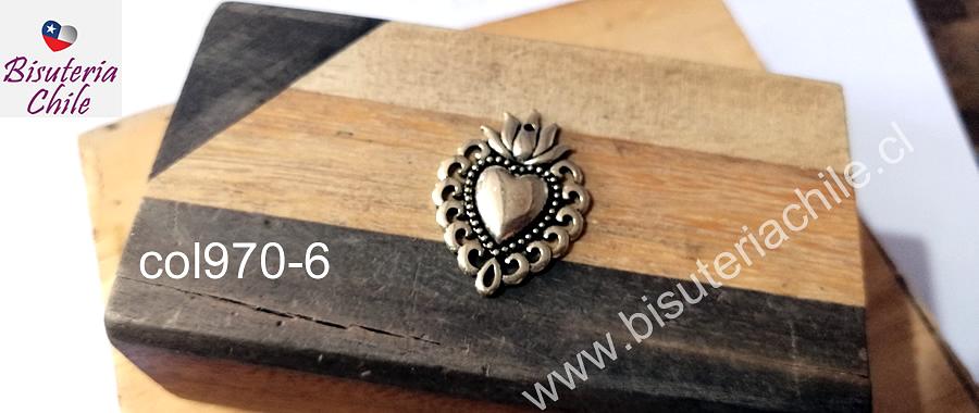 Colgante dorado corazón detente, 29 x 21 mm, por unidad. San Valentin