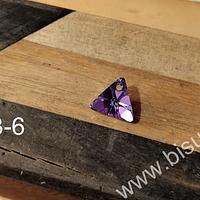Cristal Austriaco rosado tornasol en forma de triangulo, 12 x 12 mm, 6 mm de ancho, por unidad