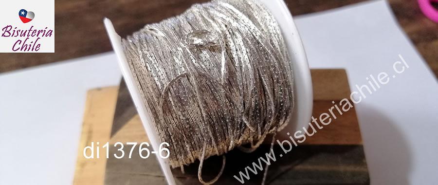 Cadena tipo serpiente de 1 mm, de espesor, color plateado por metro