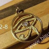 Colgante baño de oro 18 k, Ojo de Horus, 38 mm, por unidad