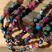 Agata jaspeada de 6 mm, en tono multicolor, tira de 63 piedras aprox