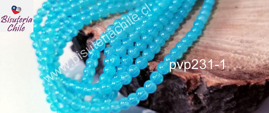perla de vidrio en celeste, de 6 mm, tira de 130 perlas aprox.