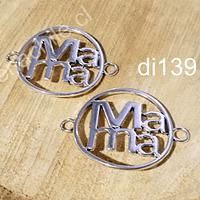 Colgante plateado doble conexión, mamá, 33 mm, set de 2 unidades