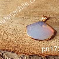 Dije de piedra luna base dorado, 22 x 20 mm, por unidad