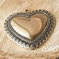 Colgante dorado corazón, 60 x 52 mm, por unidad. San Valentin
