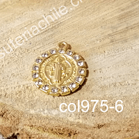 Colgante San Benito baño de oro con circones, 18 mm, por unidad