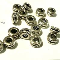 Separador plateado, 6 mm de diámetro, 4 mm de ancho, agujero de 2,5 mm, set de 15 unidades