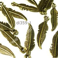 Plumas doradas, 22 mm de largo por 7 mm de ancho, set de 12  unidades