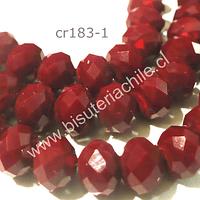 Cristal facetado rojo de 10 mm, tira de 20 unidades