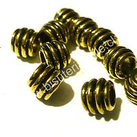 Separador dorado, 8 mm, 6 mm de ancho, agujero de 4,5 mm, set de 10 unidades