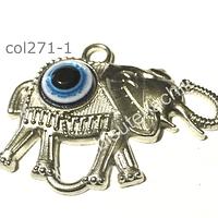 Colgante plateado elefante con ojo turco, 40 mm de ancho y 28 mm de alto, por unidad