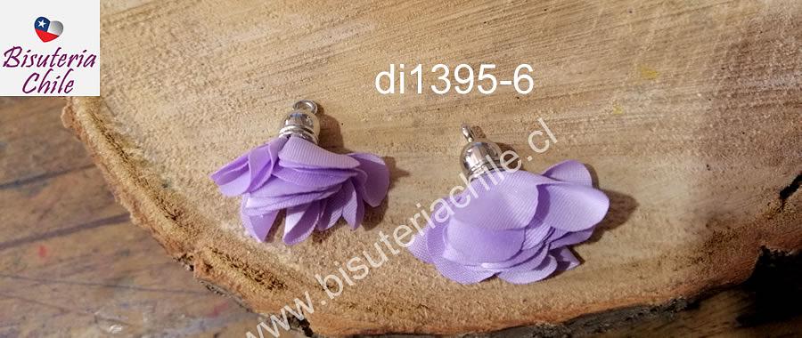 Borla flor lila, base plateado, 24 mm de largo, por par