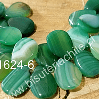 Agata verde en forma de gota, 18 x 13 mm, set de 10 unidades
