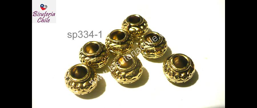 Separador dorado con diseño, 10 mm de ancho por 7 mm de alto, set de 7 unidades
